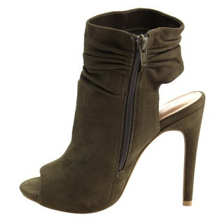Wild Diva Lounge FD81 Women's Ruched-cuff Stiletto Heel Bootie One Size Small