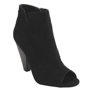Wild Diva Lounge Women's FD78 Notched Stacked Cone Heel Ankle Bootie