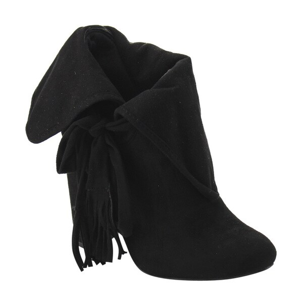 FD77 Women's Foldable Cuff Fringe Tie Up Ankle Bootie