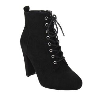 Wild Diva Lounge Women's FD75 Lace-up High Block Heel Ankle Bootie