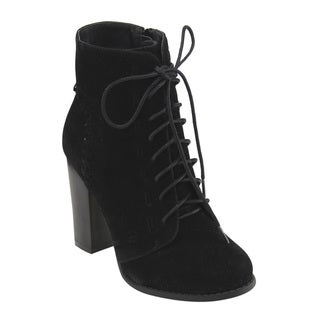 Mark & Maddux Women's GE06 Lace-up Side-zip Block High Heel Ankle Booties