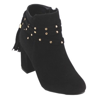 Yoki Women's ED11 Tassel Studded Strappy High Block Heel Ankle Booties