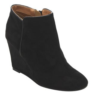 Qupid Women's FD12 Faux-suede Plain Wedge-heel Ankle Booties