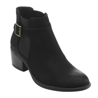 QUPID FD08 Women's Retro Buckle-strap Ankle-high Low-block Heel Boots