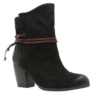 QUPID Women's Pull-on Lace-wrap Stacked Block Heel Ankle Booties