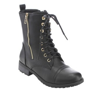 Forever Women's GD83 Lace-up Zipper-closure Combat Ankle Booties