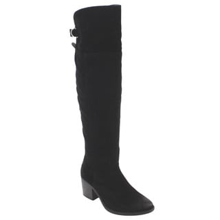Qupid FD11 Women's Knee-high Back-buckle Chunky-block-heel Boots