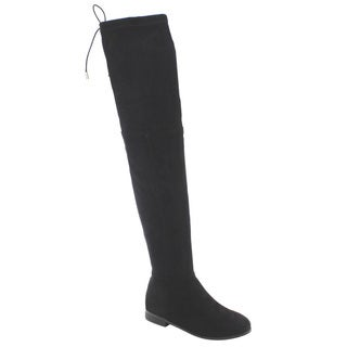 So Me AD29 Women's Faux Suede Drawstring Pull-on Flat Heel Over-the-knee Boots