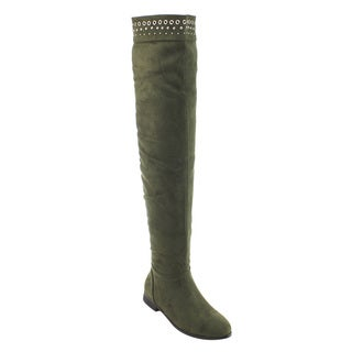 So Me Women's AD28 Faux-suede Studded Pull-on Flat Heel Over-the-knee Boots