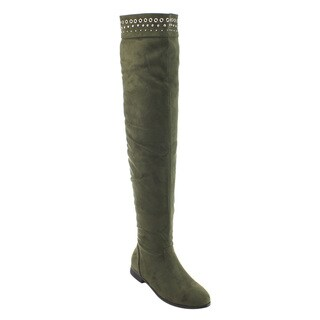 So Me Women's AD28 Olive Green Faux-suede Studded Pull-on Flat Heel Over-the-knee Boots