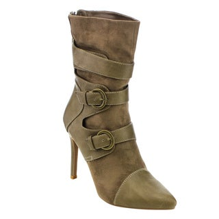 Forever Women's GD46 Pointed-toe Double Deco Buckles Rear-zip Stiletto Boots
