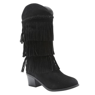 QUPID FD26 Women's Braided Fringe Mid-calf Cowboy Boots