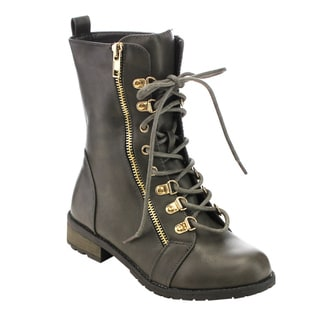 Forever Women's GD42 Leather Lace-up Zip-up Military-style Mid-calf Boots