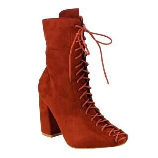 CAPE ROBBIN GD77 Women's Lace-up Size Zipper Block Heel Ankle Booties (Option: Rust - 6)