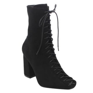 Cape Robbin Women's GD77 Lace-Up Zipper Chunky Heel Ankle Booties