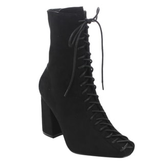 CAPE ROBBIN GD77 Women's Lace-up Size Zipper Block Heel Ankle Booties