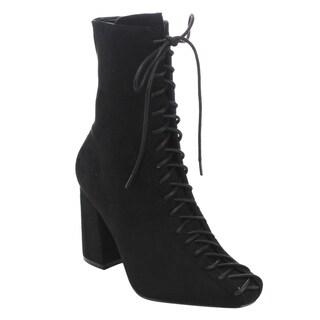 CAPE ROBBIN GD77 Women's Lace-up Size Zipper Block Heel Ankle Booties