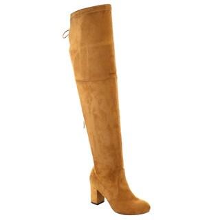 Beston FD19 Women's Over The Knee Drawstring Block Heel Boots