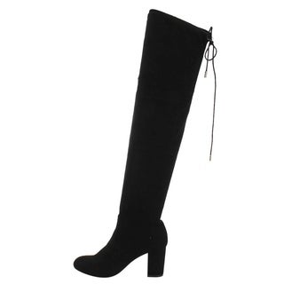 Beston FD19 Women's Over The Knee Drawstring Block Heel Boots