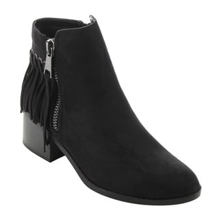 CityClassified FD64 Women's Faux Suede Dual-zipper Low-heel Ankle Booties