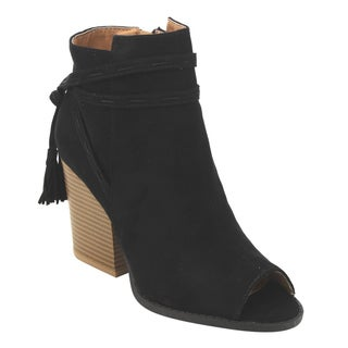 Qupid FD03 Women's Tassels Ankle Strap Stacked Block Heel Booties