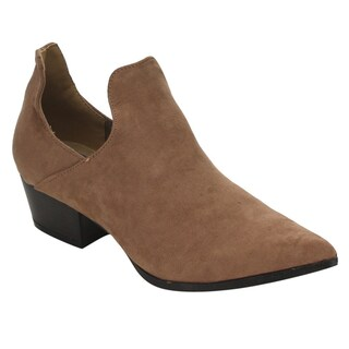 CAPE ROBBIN GD73 Women's Pointy Toe Low Heel Slip-On Ankle Booties Half Size Big (4 options available)