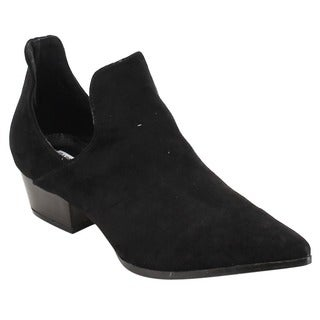 CAPE ROBBIN GD73 Women's Pointy Toe Low Heel Slip-On Ankle Booties Half Size Big