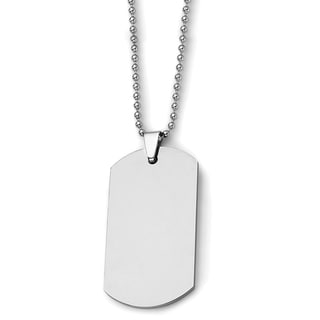Chisel Tungsten Polished Dog Tag 24in Necklace (Option: 24 Inch)