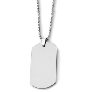 Chisel Tungsten Polished Dog Tag 24in Necklace