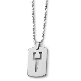 Chisel Tungsten Dog Tag with Key Cut-out Necklace
