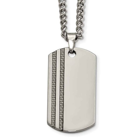 """Chisel Tungsten Pol and Carbon Fiber 24"""" curb chain Dog Tag Necklace"""