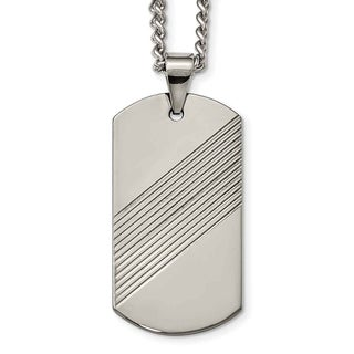 Chisel Tungsten Textured and Polished Dog Tag Necklace (Option: 24 Inch)
