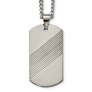 Chisel Tungsten Textured and Polished Dog Tag Necklace