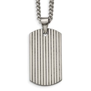 Chisel Tungsten Polished Dog Tag Necklace