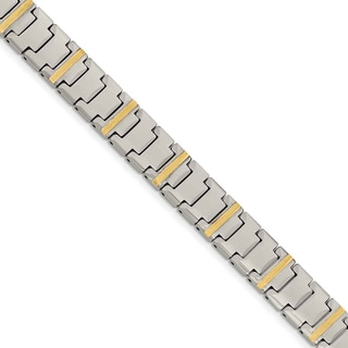 Chisel Tungsten with 14k Gold Polished Link Bracelet