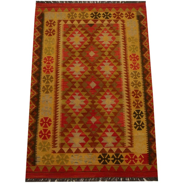 Herat Oriental Afghan Hand-woven Vegetable Dye Wool Kilim (3'10 x 5'9)