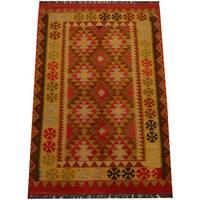 Handmade Herat Oriental Afghan Vegetable Dye Wool Kilim  - 3'10 x 5'9 (Afghanistan)