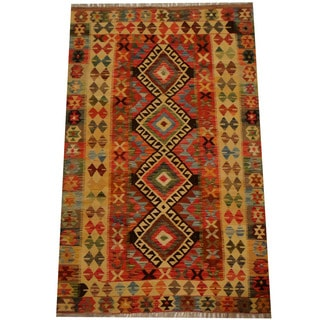 Herat Oriental Afghan Hand-woven Vegetable Dye Wool Kilim (4'1 x 6'7)