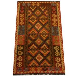 Herat Oriental Afghan Hand-woven Vegetable Dye Wool Kilim (4'2 x 6'9)