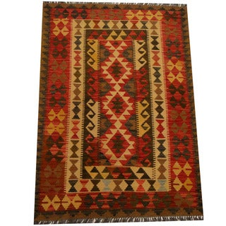 Herat Oriental Afghan Hand-woven Vegetable Dye Wool Kilim (4' x 5'9)