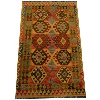 Herat Oriental Afghan Hand-woven Vegetable Dye Wool Kilim (4' x 6'6)