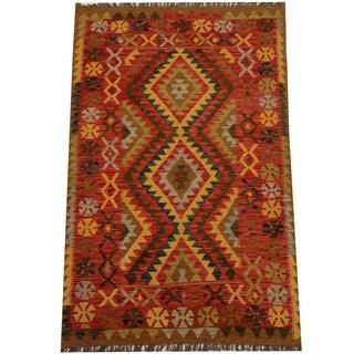 Herat Oriental Afghan Hand-woven Vegetable Dye Wool Kilim (4' x 6'4)