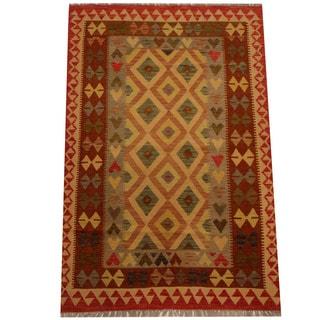 Herat Oriental Afghan Hand-woven Vegetable Dye Wool Kilim (4' x 5'11)