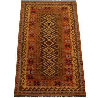 Herat Oriental Afghan Hand-woven Vegetable Dye Wool Kilim (3'10 x 6'3)