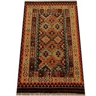 Herat Oriental Afghan Hand-woven Vegetable Dye Wool Kilim (3'10 x 6'6)