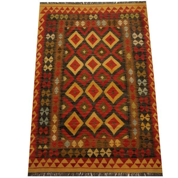 Handmade Herat Oriental Afghan Vegetable Dye Wool Kilim (Afghanistan) - 4' x 6'