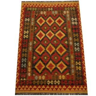 Herat Oriental Afghan Hand-woven Vegetable Dye Wool Kilim (4' x 6')