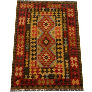 Herat Oriental Afghan Hand-woven Vegetable Dye Wool Kilim (4'1 x 5'9)
