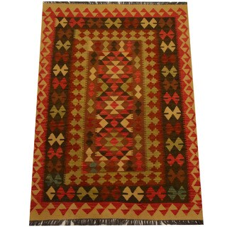 Herat Oriental Afghan Hand-woven Vegetable Dye Wool Kilim (4'1 x 5'11)