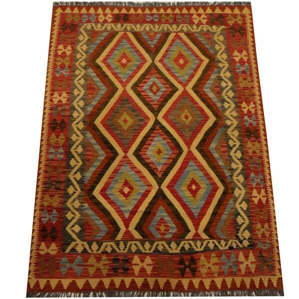 Herat Oriental Afghan Hand-woven Vegetable Dye Wool Kilim (4'6 x 6'1)